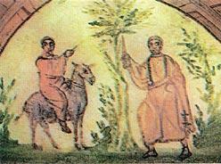 Валаам и Ангел, преграждающий ему дорогу. Фреска 4 века. Рим. Катакомбы на Виа Латина