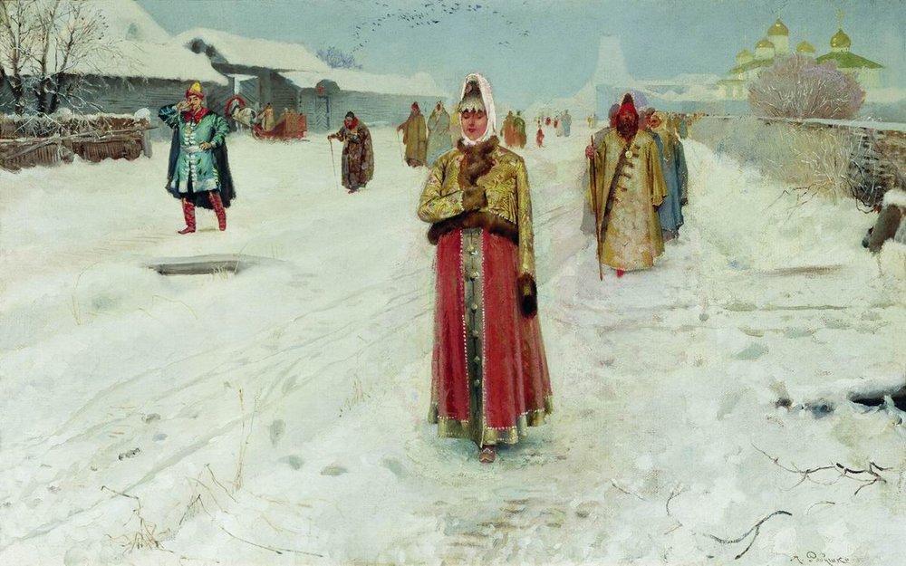 А. П. Рябушкин. Воскресный день. 1889. Холст, масло